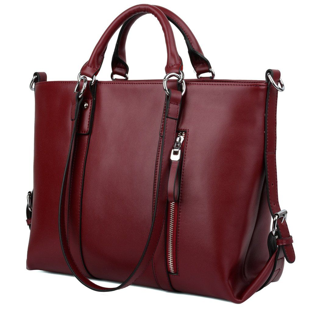 YALUXE Women's Urban Style 3-Way Leather Work Tote Shoulder Bag