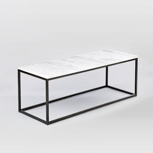 Box Frame Coffee Table Marble Antique Bronze Modern Glass