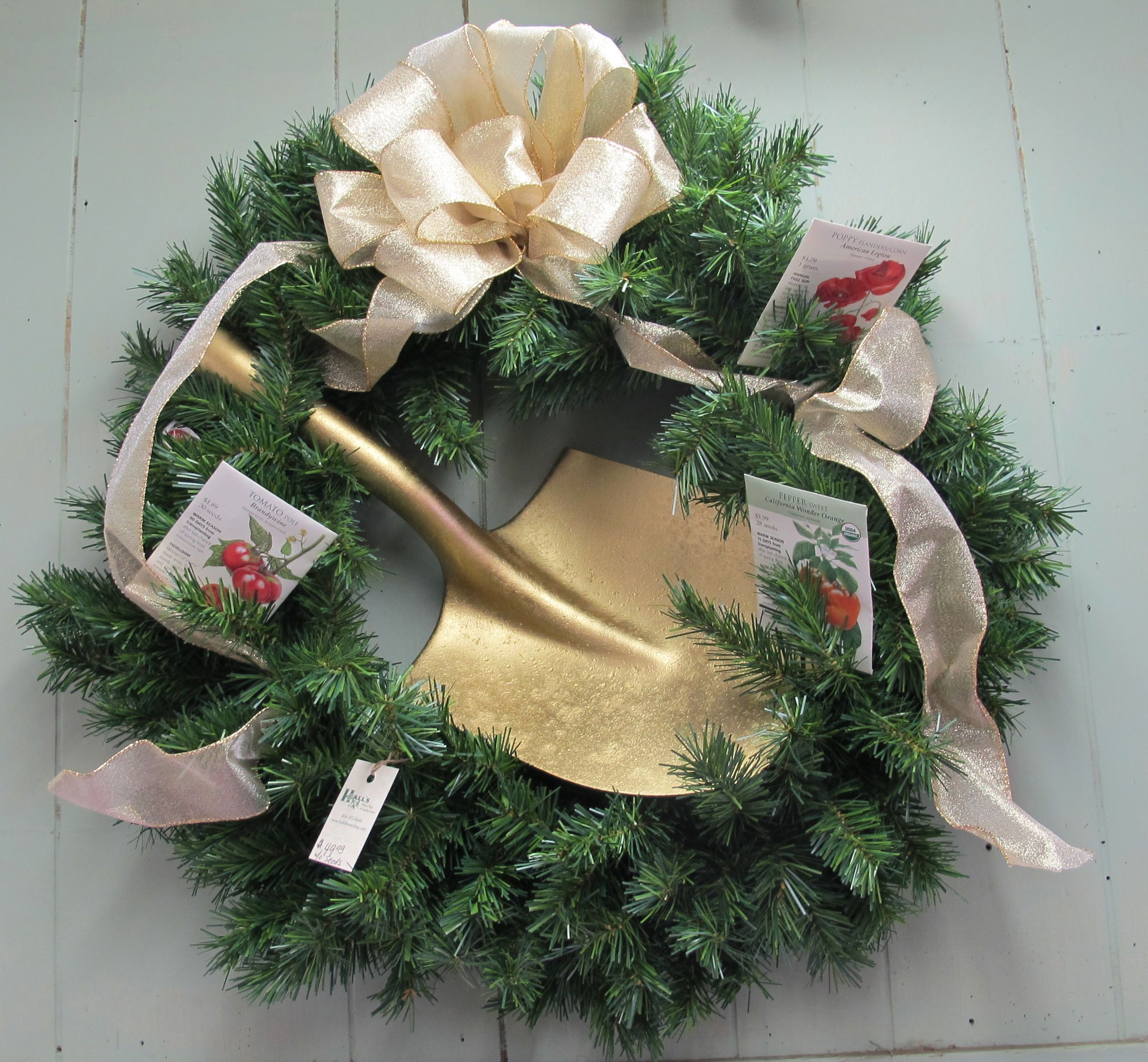 Christmas garden wreath with gold shovel what fun to turn