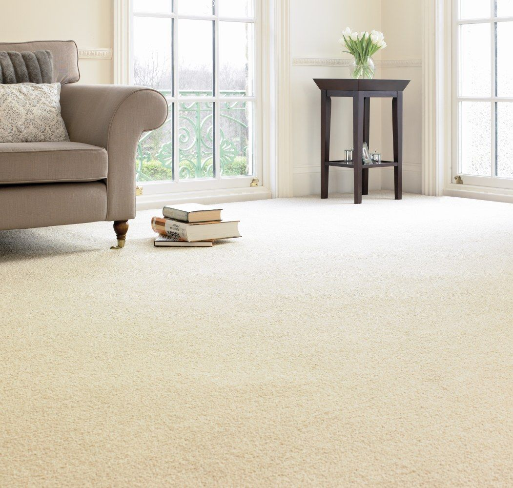 Create an elegant living room with off-white carpet and dark ...