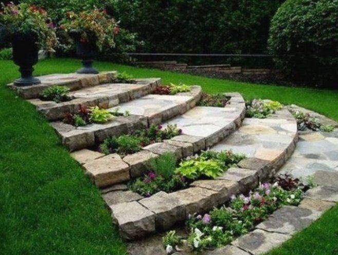 Dekosteine Garten Steinweg Treppe Zum Garten Sch Ne Gartendeko Ideen Einfach Zum Selbermachen Gartenw Backyard Landscaping Lawn And Garden Landscape Design