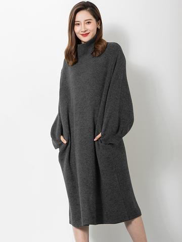 4799fab8959 Robe pull tricotée à col montant et manches bouffantes