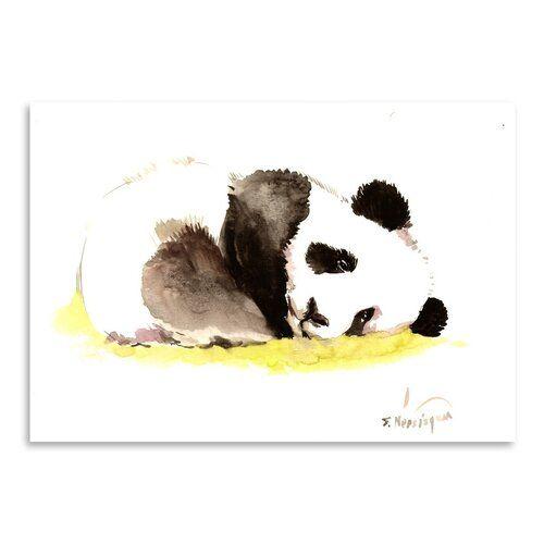 'Sleeping Baby Panda' by Suren Nersisyan Painting Print on Wrapped Canvas Americanflat Size: 30 cm H x 40 cm W #babypandas