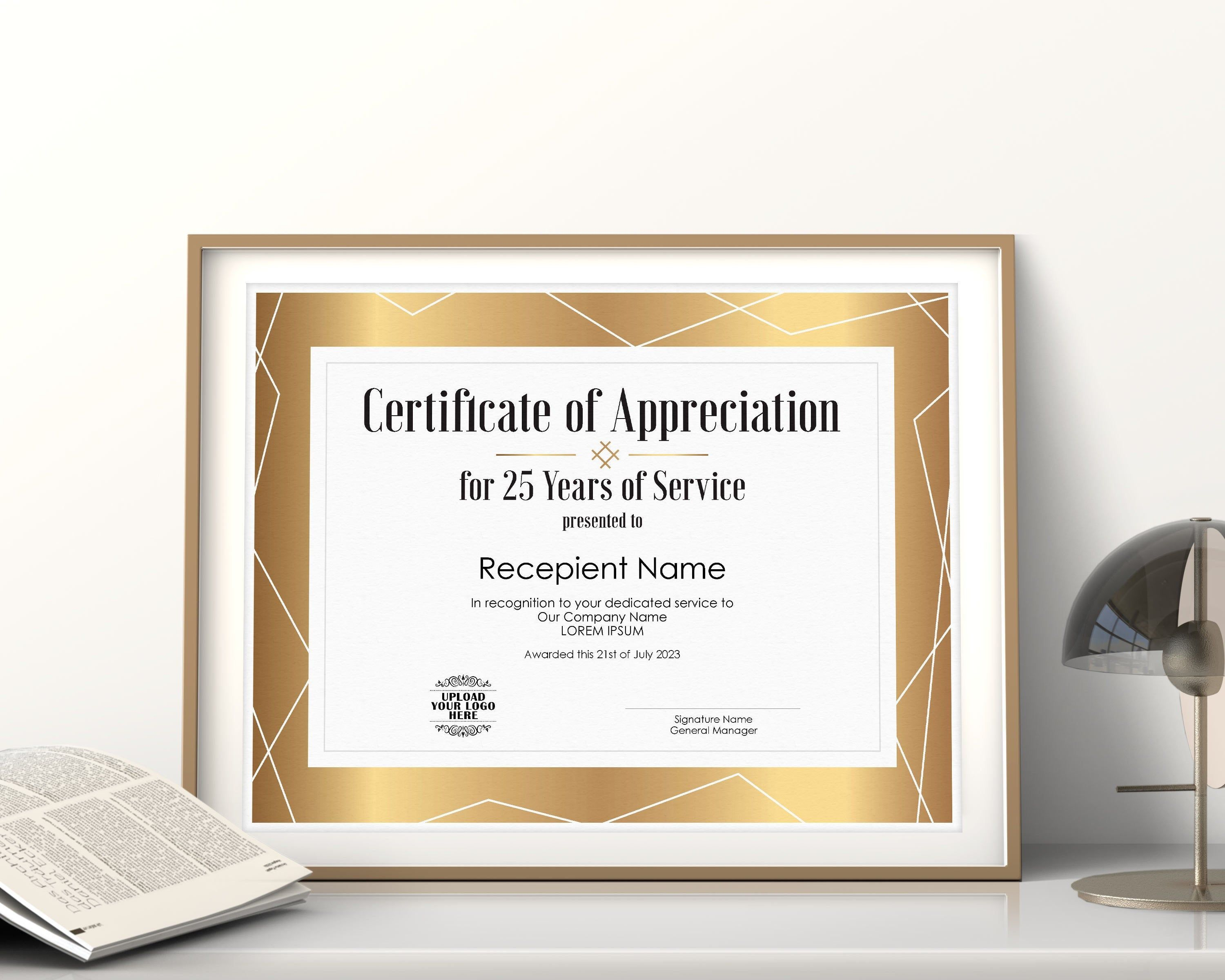 25 Years Of Service Editable Certificate Of Appreciation Etsy In 2021 Editable Certificates Certificate Of Appreciation Certificate Certificates for years of service