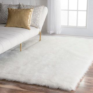 Snowy White Polar Bear Rectangular White Sheepskin Faux Fur Rug 3