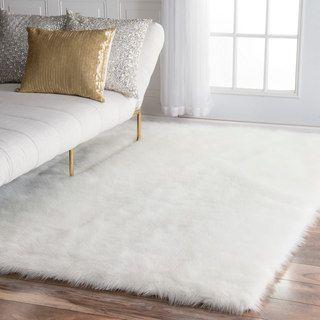 Snowy White Polar Bear Rectangular White Sheepskin Faux Fur Rug (3u00273 X 4u00277)