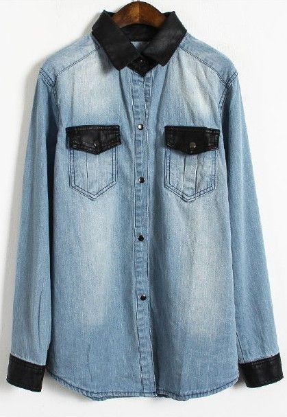 e8a5830ed04 Light Blue Contrast Leather Lapel Pocket Denim Blouse - Sheinside ...