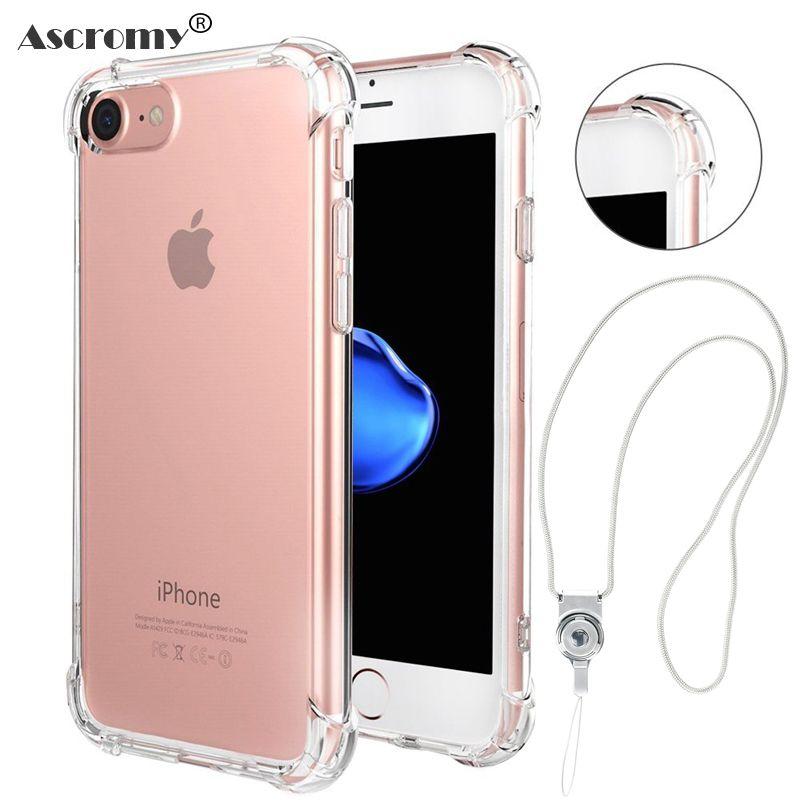 7f40009bfd Find More Fitted Cases Information about Ascromy Shockproof Phone Case for  iPhone 6 6s 5 5S SE 7 Plus Case Silicone Luxury Soft TPU Back Cover with  Lanyard ...