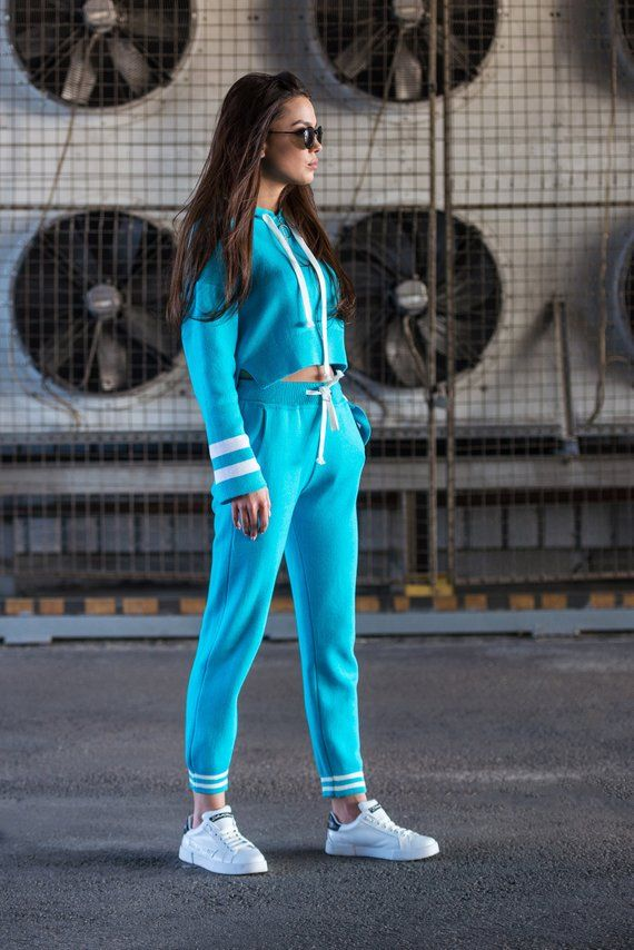 Cyan Knitted Track Suit, Turquoise Track Suit Pants, Blue