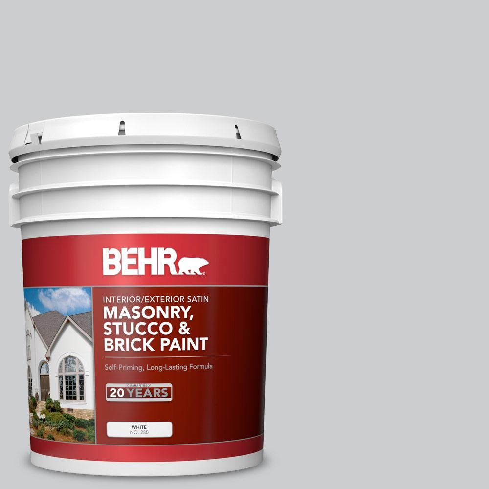 Behr 5 Gal 770e 2 Silver Screen Satin Interior Exterior Masonry Stucco And Brick Paint 28005 Flat Interior Brick Concrete Bricks