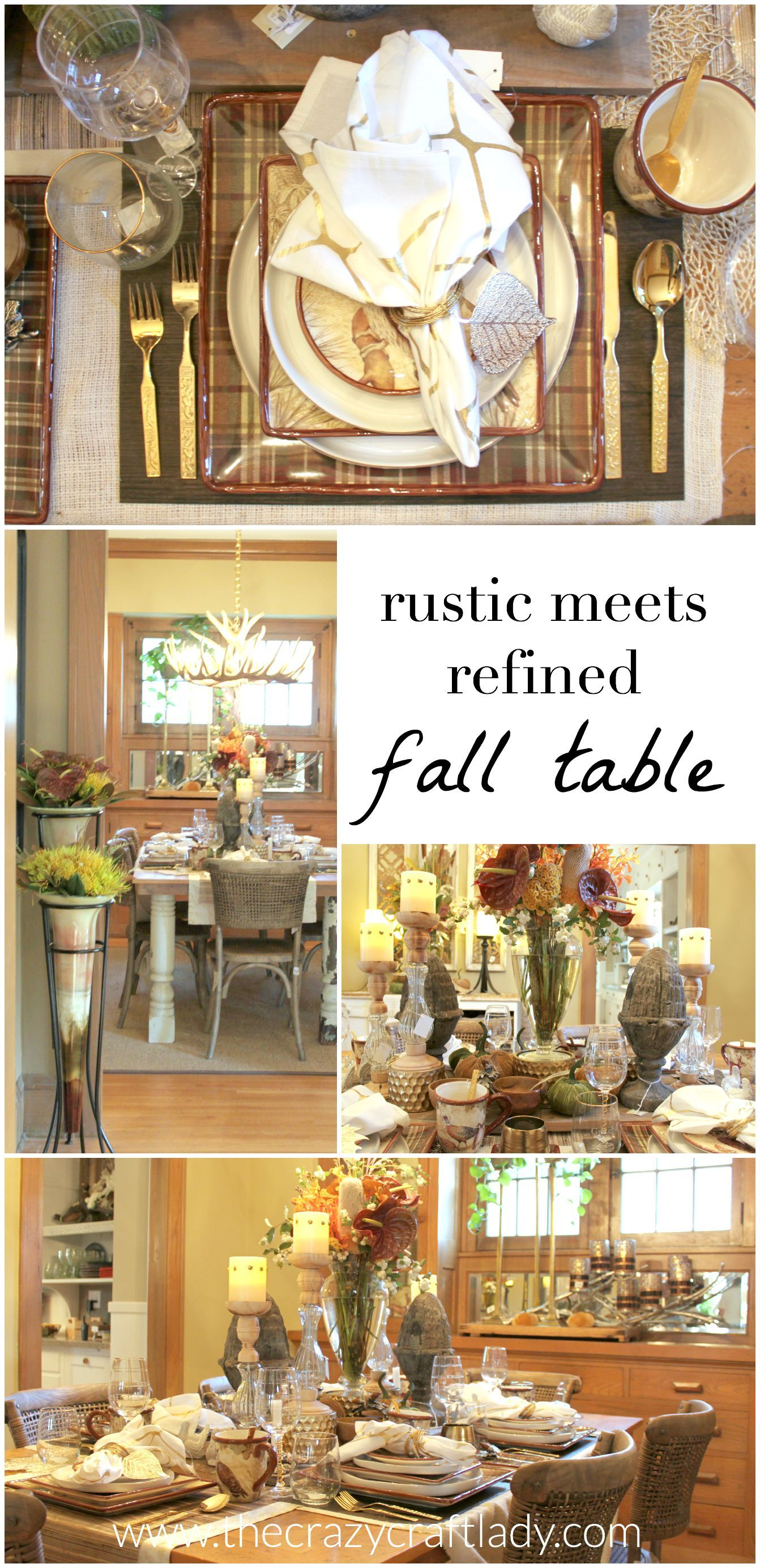 rustic meets refined dining room a rustic dining table layered with fall colors and metallic elements
