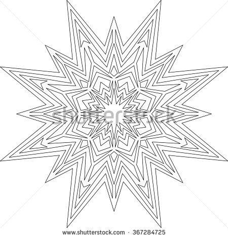 Star, Christmas, Mandala, adult coloring page, template