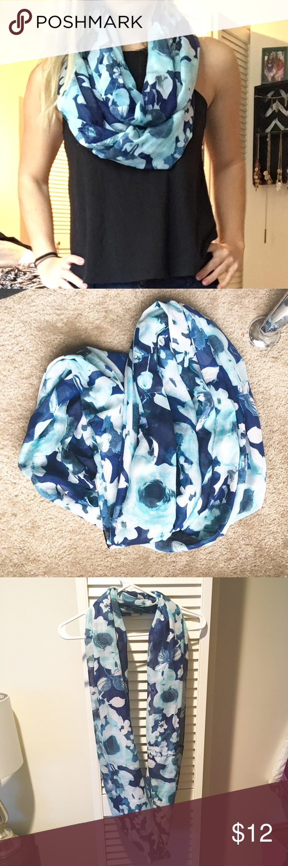 Floral scarf Infinity scarf. Lightweight and like new Lucky Brand Accessories Scarves & Wraps