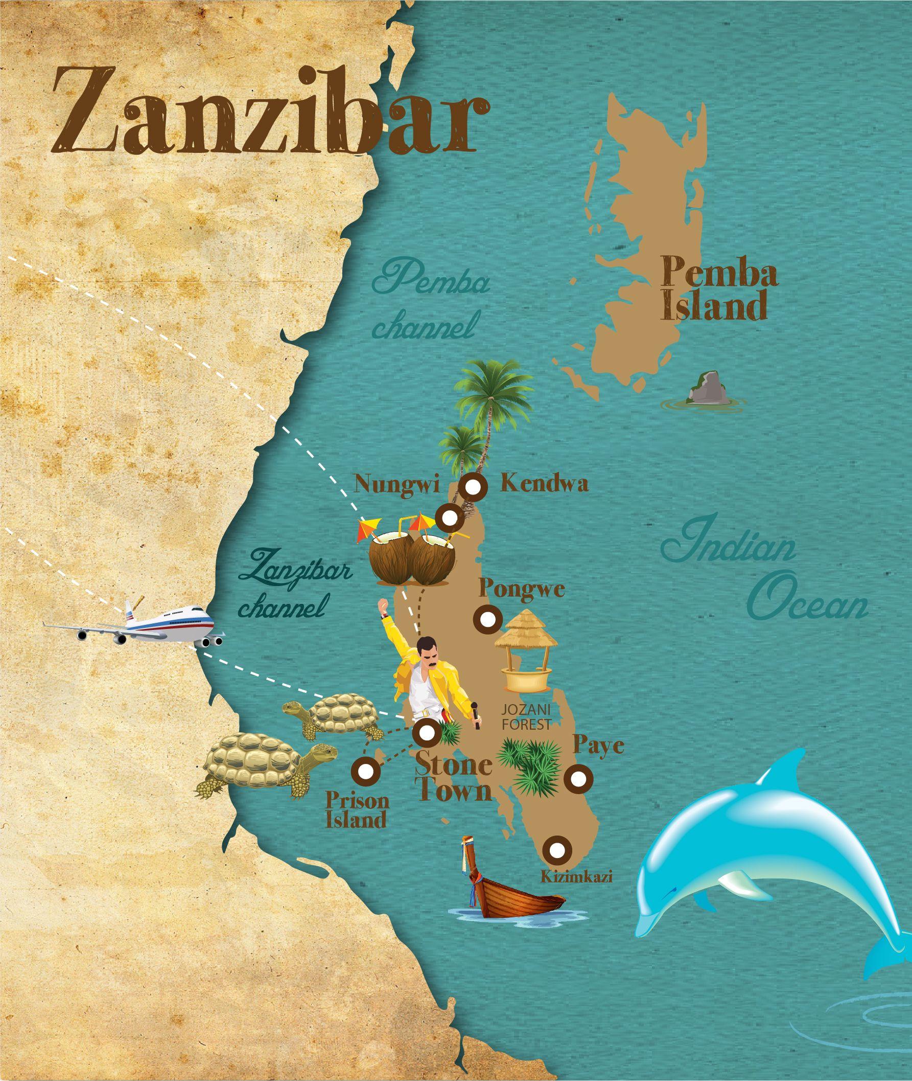 Map Of Africa Zanzibar.Zanzibar Travel Map Travelmaps Travel Graphic Tanzania
