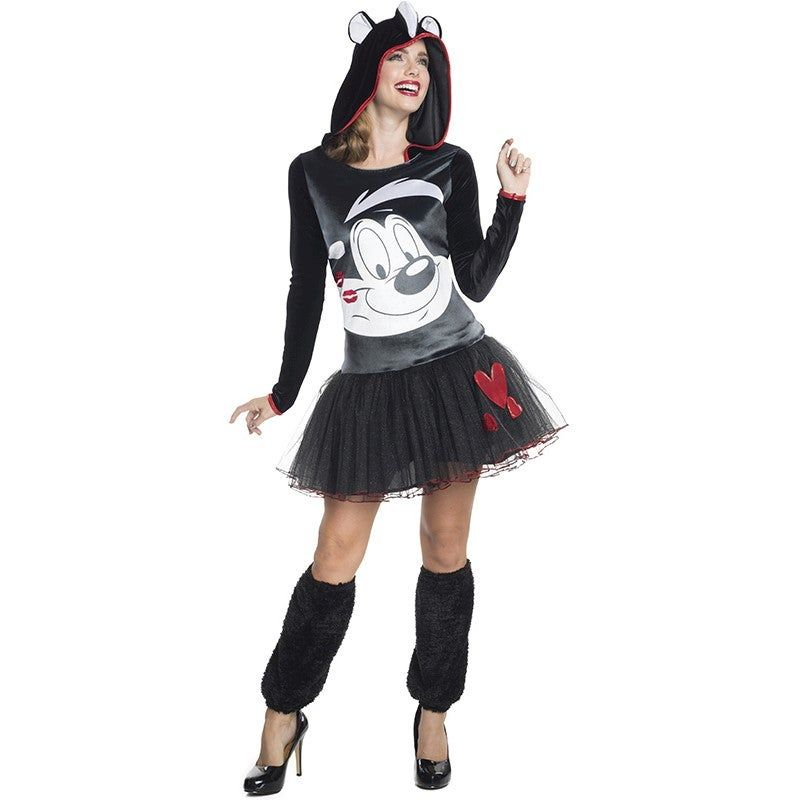 Pepe Le Pew Adult Costume Pepe Le Pew Adult CostumeYou'll fall madly in love with this adorable Pepe Le Pew hooded tutu dress. Just be sure to smell better than the real PEPE LE PEW.Item Includes: Hooded Tutu Dress Leg WarmersOfficially Licensed Looney Tunes productPlease Note:Our products come with the items listed in the above product description. For accessories shown in the photo, please check our store for availability, as we stock a massive range of accessories to complete your look.