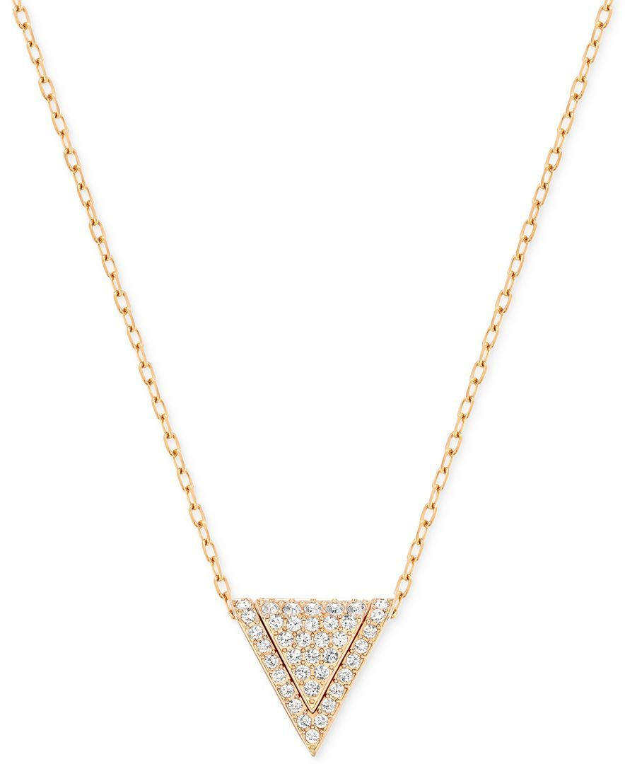 cde8b3a8a0a82 Swarovski Rose Gold-Tone Pave Triangle Pendant Necklace. One of my ...