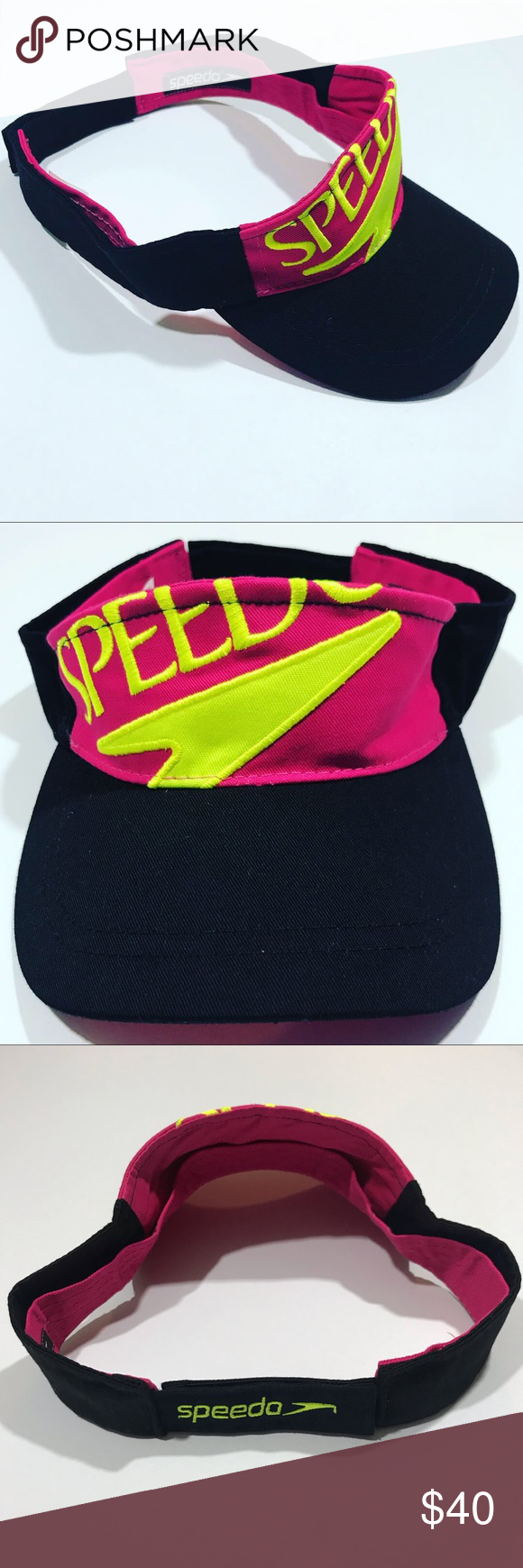 SPEEDO Neon Color Sun Visor Hat Like new! Velcro strap back No signs of  stain 9164e0b486ac