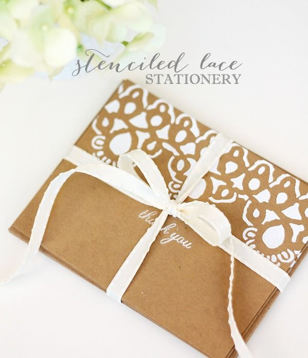 Stenciled Lace Stationery with Martha Stewart Cathedral Lace Stencils | Damask Love Blog