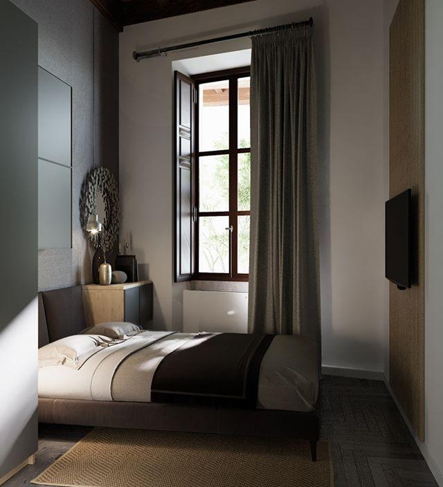 Ecco una camera da letto molto piccola con le volte alte ...