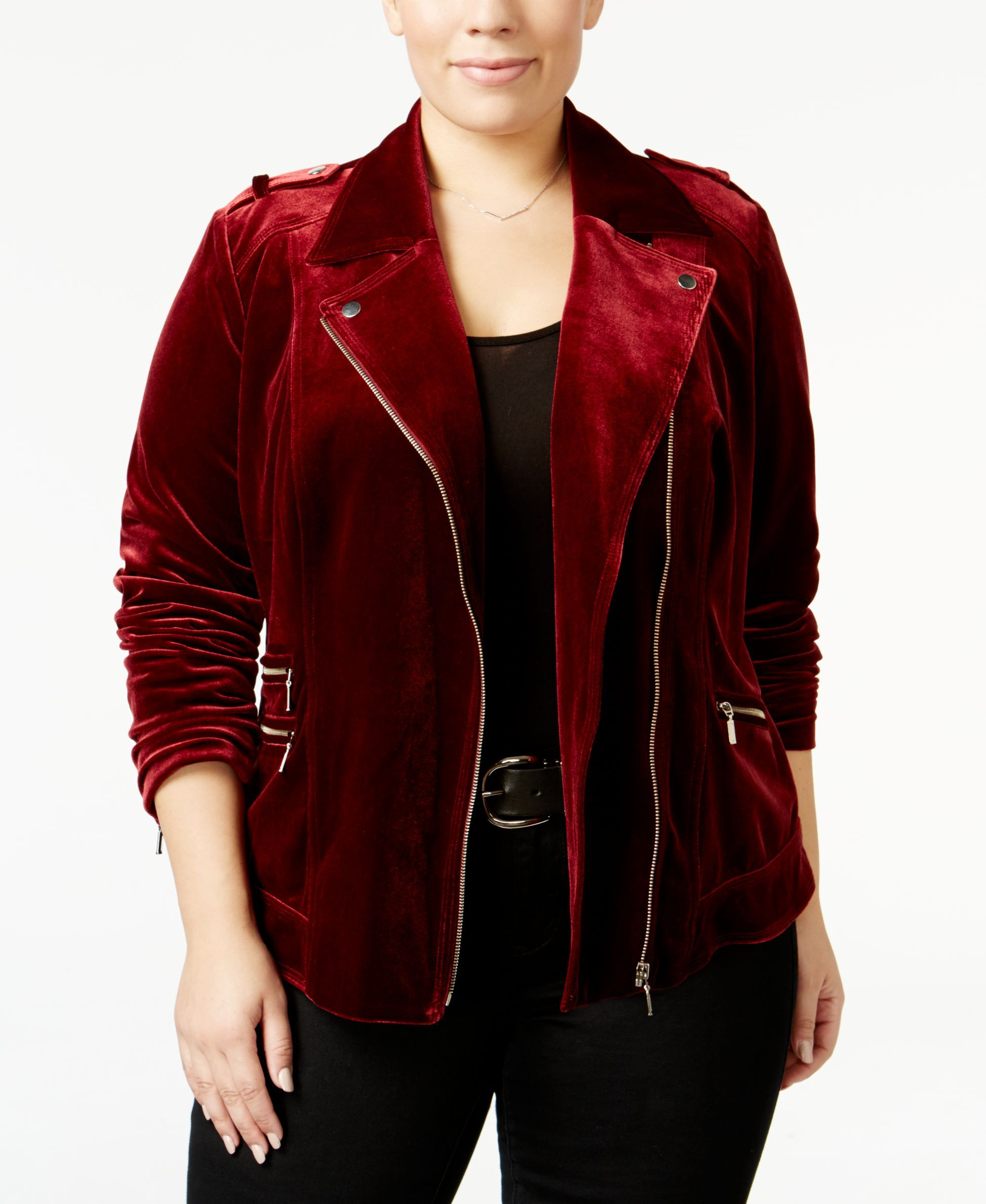 8bef3830429 Inc International Concepts Plus Size Velvet Moto Jacket