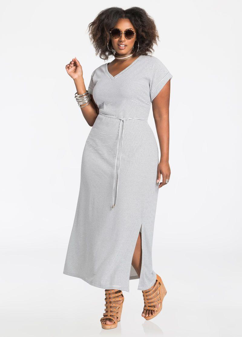 d5c0c45b609c Stripe V-Neck T-Shirt Maxi Dress | Curvy Fashions | Maxi shirt dress ...