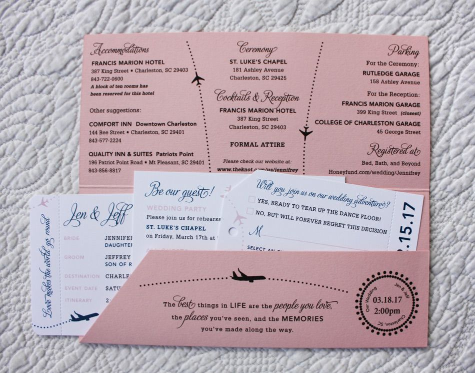 Blush Pink  Navy Blue Planes  Dots Airline Ticket Wedding - Formal Invitation Letters