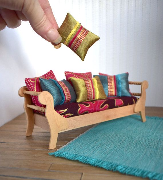 Day Bed Couch 1:12 Scale Dolls House Modern Miniature Boho Chic Timber Furniture Gold Accent Silk Fabric for DollHouse RoomBox OOAK