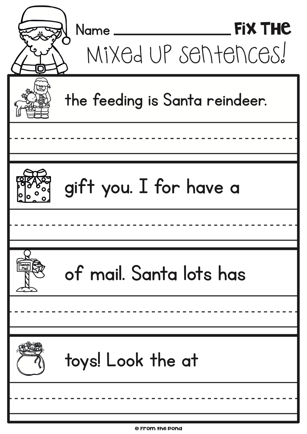 Fun Christmas Worksheet Activities for First grade and Kindergarten    Kindergarten writing [ 1474 x 1042 Pixel ]
