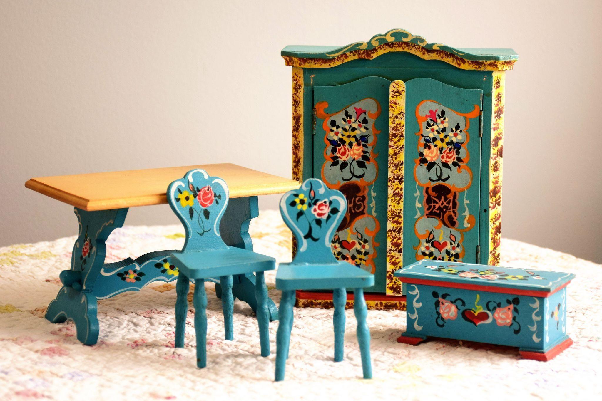 5 Piece 1950 S Dora Kuhn Dollhouse Furniture Set Vintage Hand