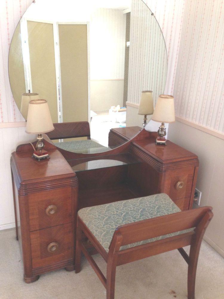 6 Piece Bedroom Set Walnut 1940 S Art Deco Original Huntley