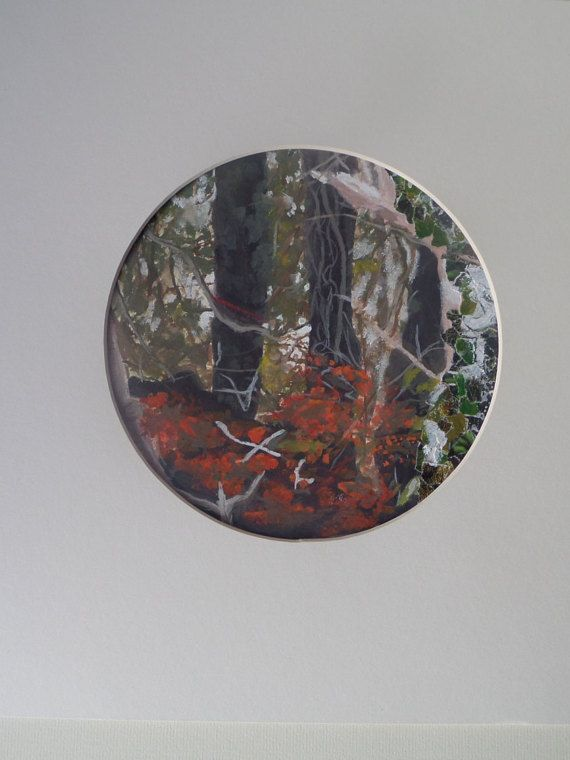Gouache and Collage Circular painting by MuddlesNPuddles on Etsy