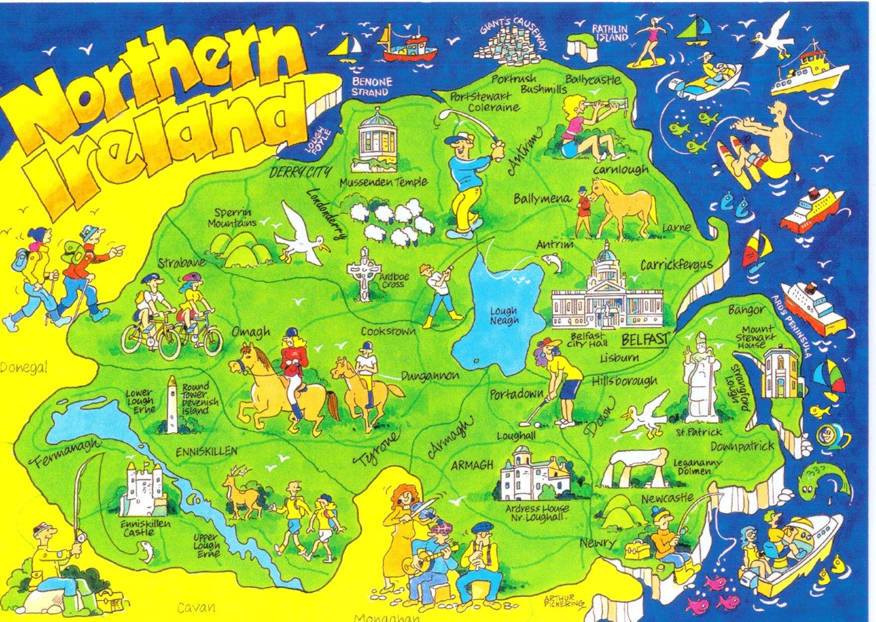 Transportation and county map of Northern Ireland TV greats