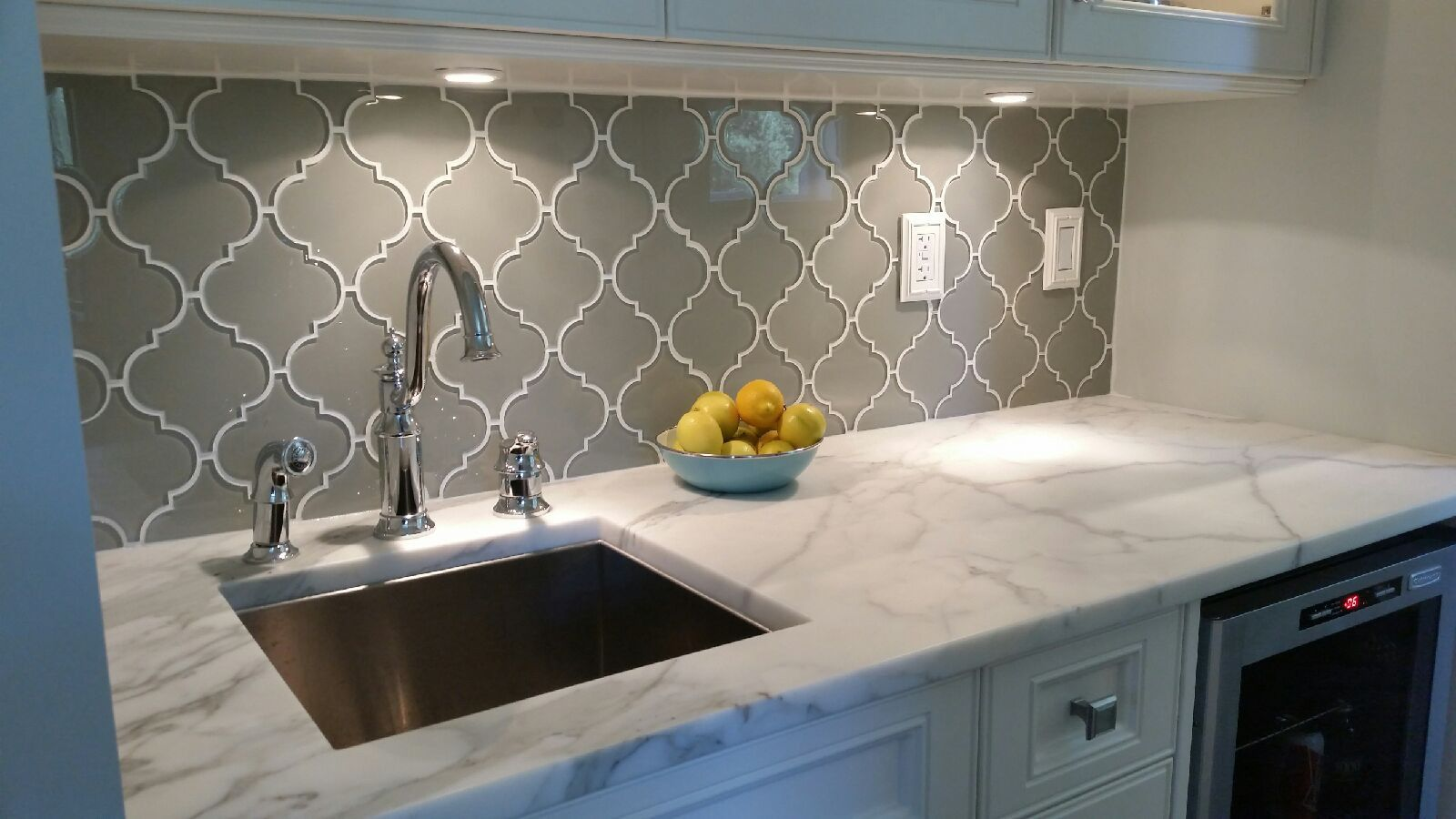 Glass Tile Kitchen Backsplash Large Sink Taupe Arabesque Mosaic Tiles Pinterest