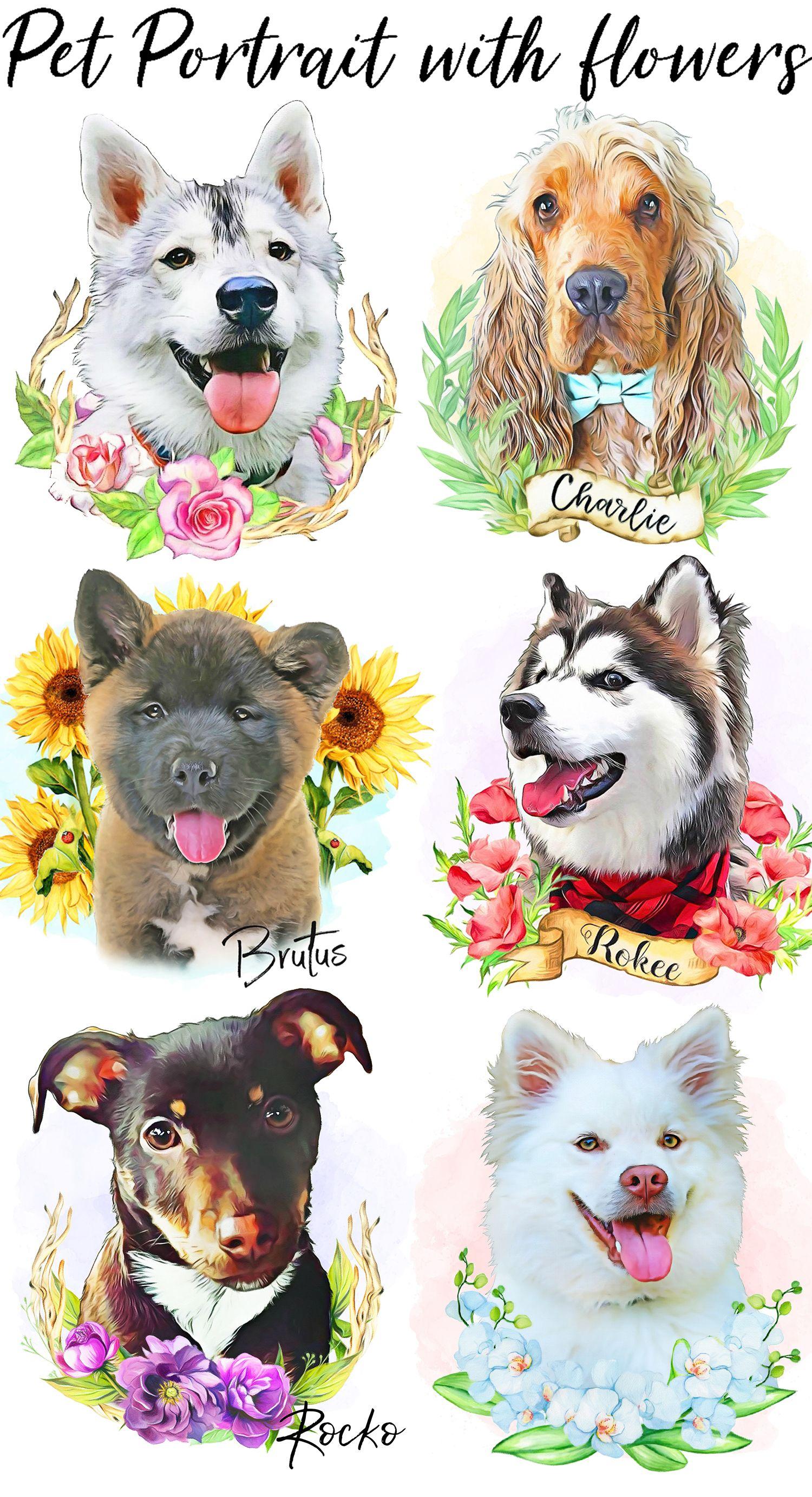 Cat Dog Portrait Gifts Him Her Custom Pet Portrait Digital File Pet Loss Memory Gifts Pet Illustration Pet Art Gift- Pet Portrait