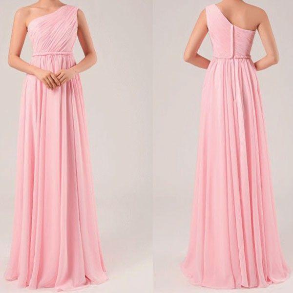 Shoulder One Pink Long Prom Dress