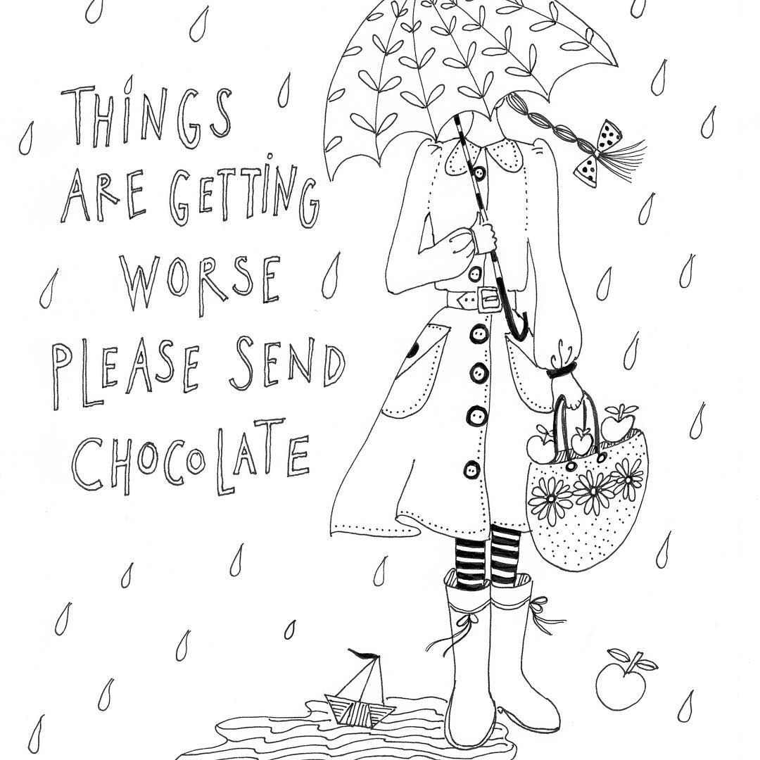 Oh my this weather and grey days (drawing from my colouring book ...
