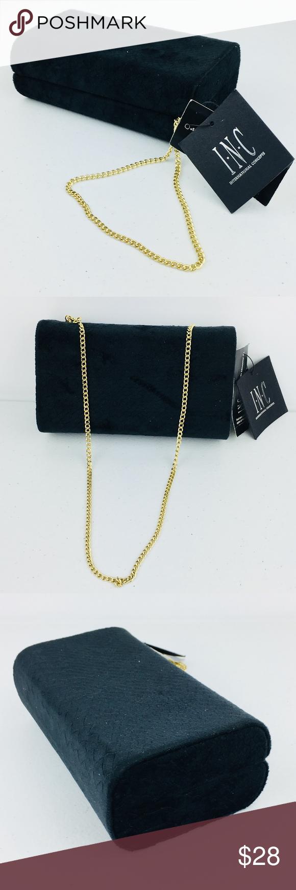 new black velvet clutch handbag gold chain nwt in 2018 my posh rh pinterest com