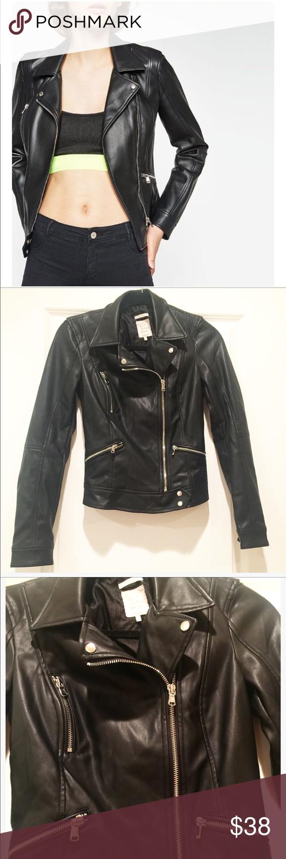 Zara TRF Faux Leather moto Jacket Stunning Faux Leather