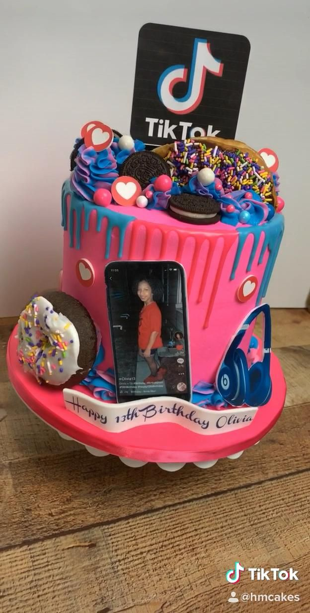 Tiktok 13th Birthday Cake How A M A Z I N G Is This Cake Fully Personalized Designed Tiktoc S Video Candy Birthday Cakes Birthday Cake Birthday Cakes For Teens