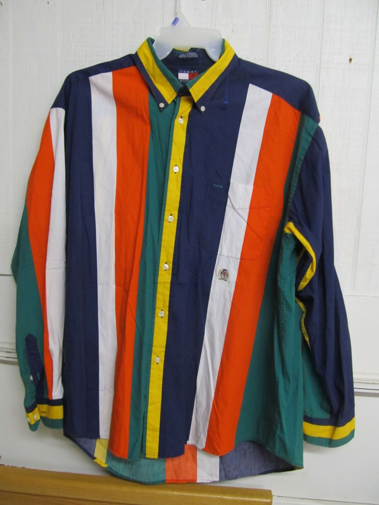 4348622b492 Tommy Hilfiger XL Men s Shirt Bold Multi-Color Stripes Long Sleeve Button  Collar  TommyHilfiger  ButtonFront