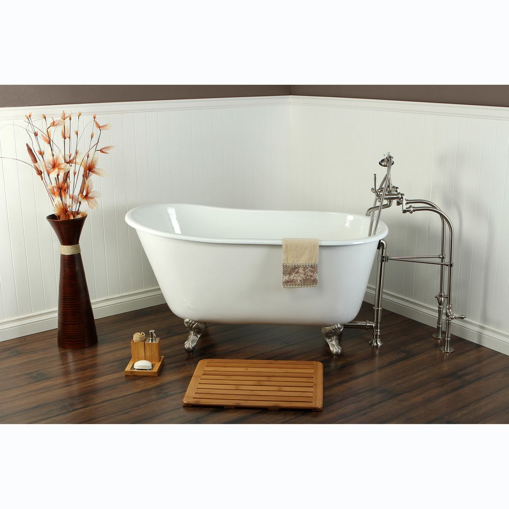 Slipper Cast Iron 53-inch Clawfoot Bathtub | Overstock.com Shopping ...