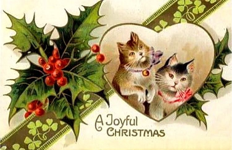 Vintage kitty christmas cards creepy cat joyful and vintage christmas creepy cats wishing you a joyful christmas m4hsunfo