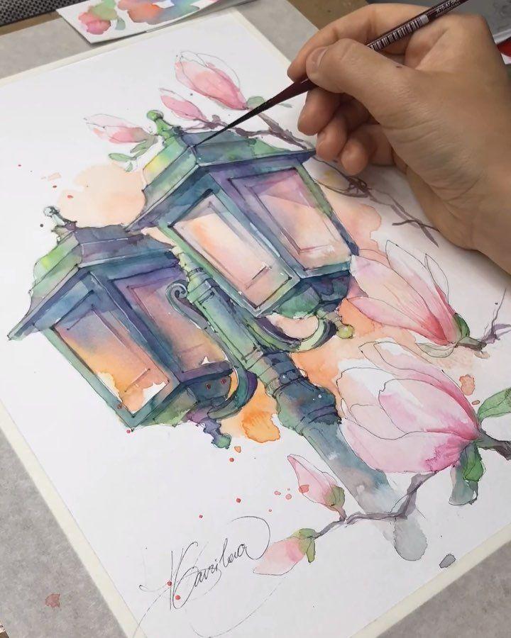 """DRAWINGS BY GAVRILOVA XTINA on Instagram: """"🔸🎨Необычное цветовое сочетание для меня. А все потому что решила попробовать новый цвет от Van Gogh ⠀ 🔸🎨An unusual colour palette for me…"""""""