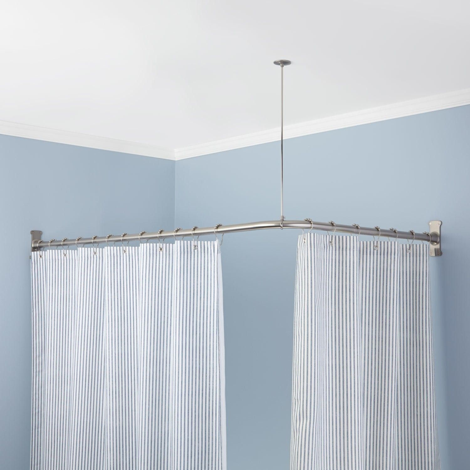 l shaped shower curtain rod with ceiling support