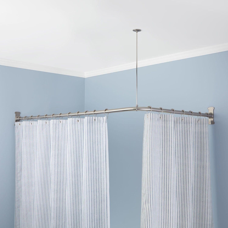 corner bathtub shower curtain rod