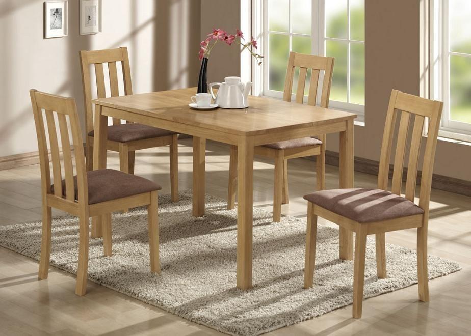 Original Look Of Cheap Dining Room Sets From Wood In Simple Design Idea With Wooden Flooring Unit And Grey Rug Design Kursi Makan Mebel Kursi Meja Makan