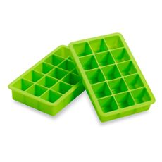 Green Silicone Ice Cube Tray, $7.99 for set of 2 at Bed Bath & Beyond. These are slightly smaller than the standard size ice cubes, and would be perfect for organizing essential oils! (Also nail polish.)