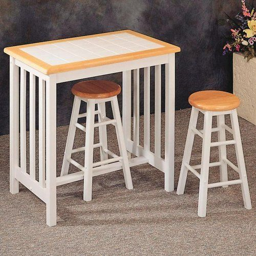 Natural White Tile Top Breakfast Bar Table Stool Set By