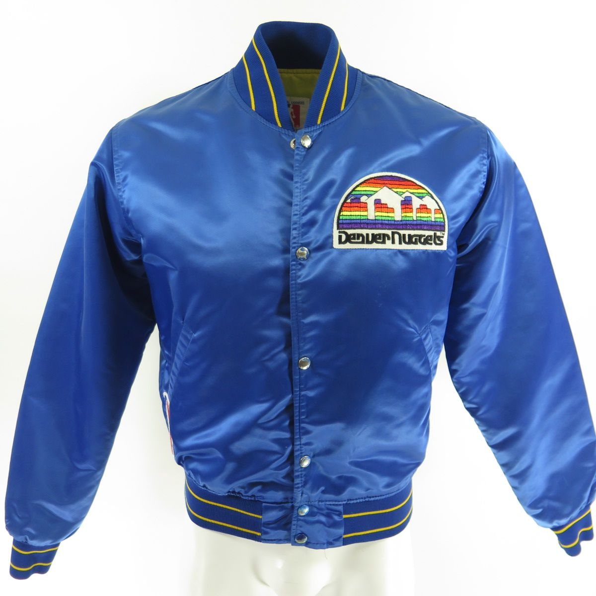 Vintage 90s Denver Nuggets Jacket Starter Satin Rainbow Logo Basketball Nba M The Clothing Vault Vintage Sports Clothing Retro Jacket Logo Basketball