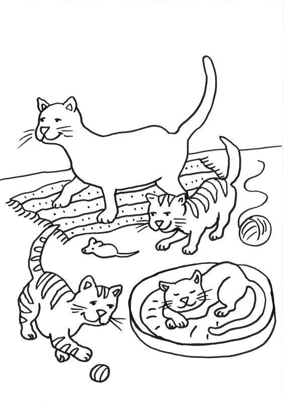 Ausmalbild Katzen: Katzenfamilie ausmalen kostenlos ausdrucken